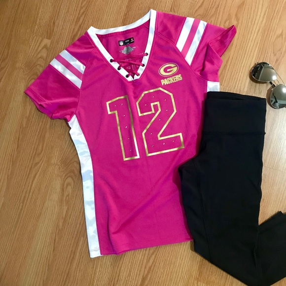Pink Green Bay Packers Jersey size small